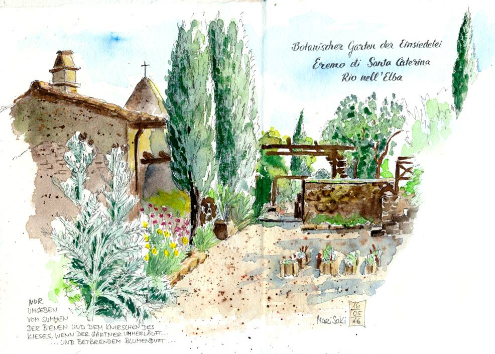 Botanischer Garten bei Eremo di Santa Caterina, gemalt von Marisa Kirko.